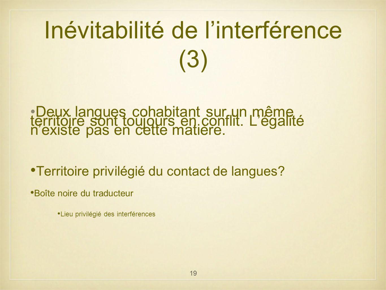 Inévitabilité de l'interférence (3)