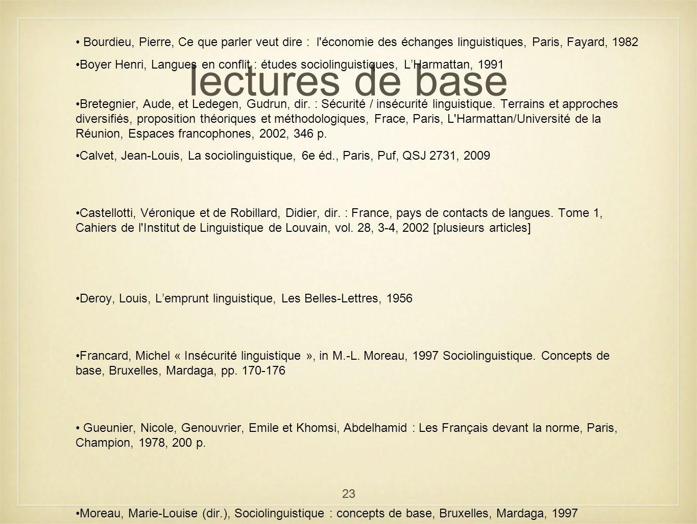 lectures de base Bourdieu, Pierre, Ce que parler veut dire : l économie des échanges linguistiques, Paris, Fayard, 1982.