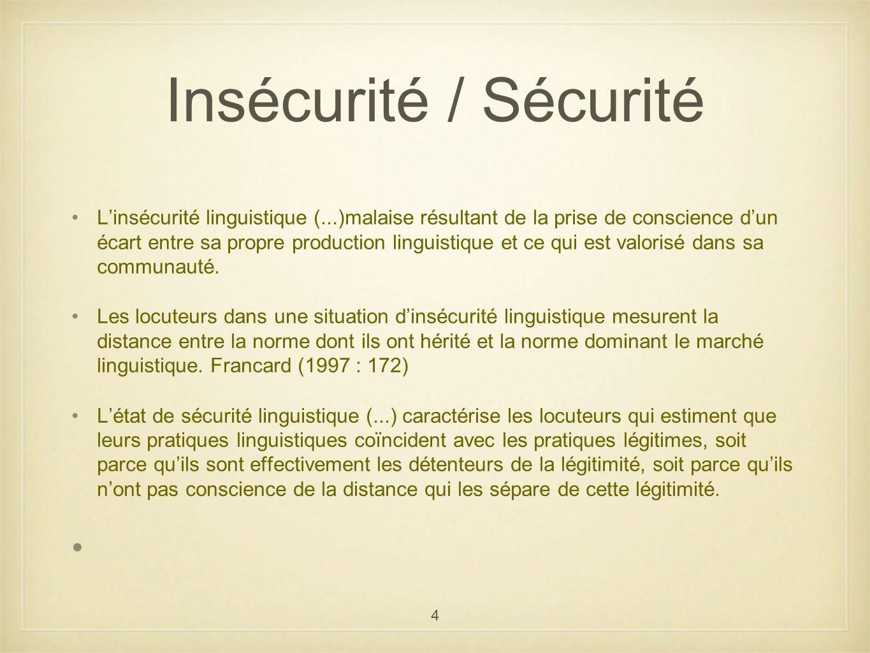 Insécurité / Sécurité