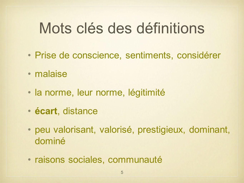 Mots clés des définitions