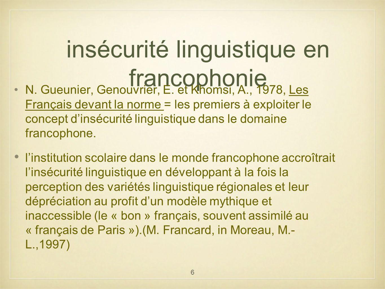 insécurité linguistique en francophonie