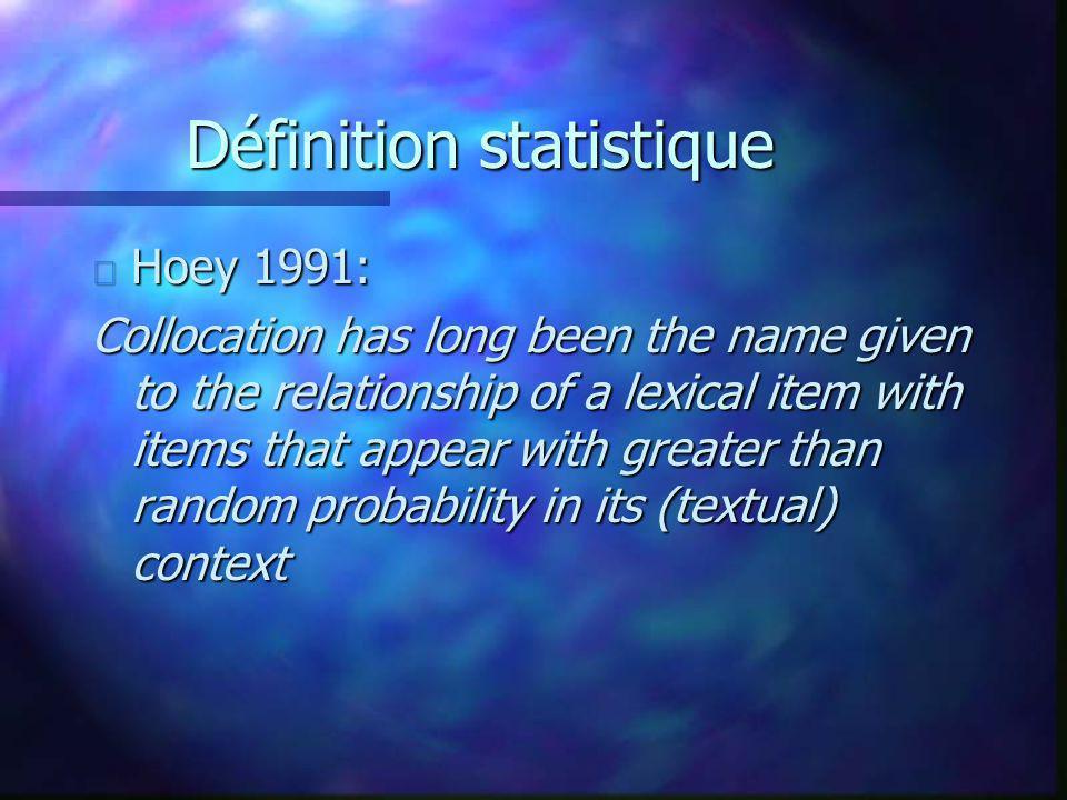 Définition statistique