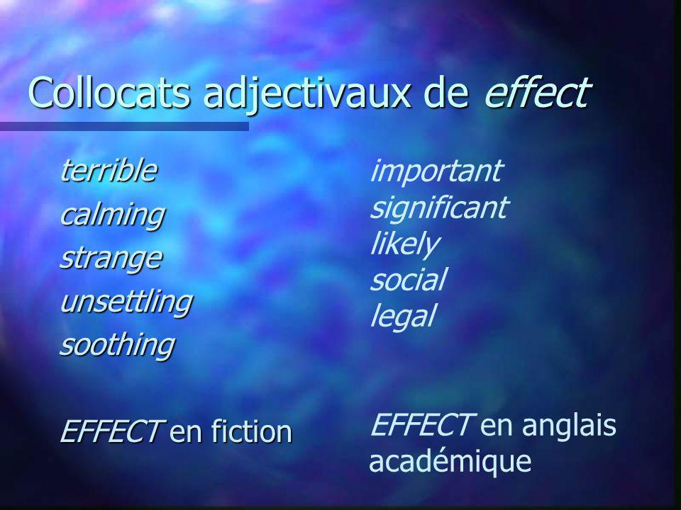 Collocats adjectivaux de effect