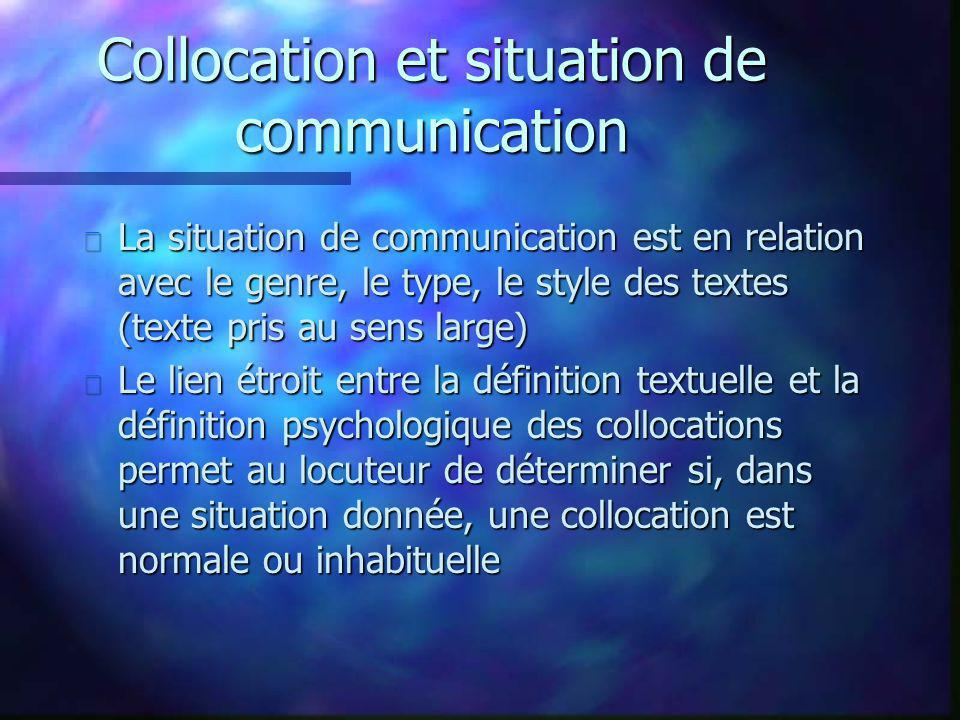 Collocation et situation de communication