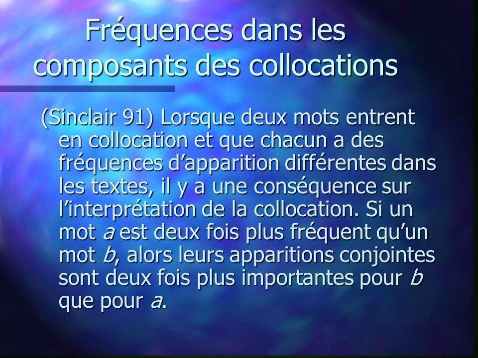 Fréquences dans les composants des collocations