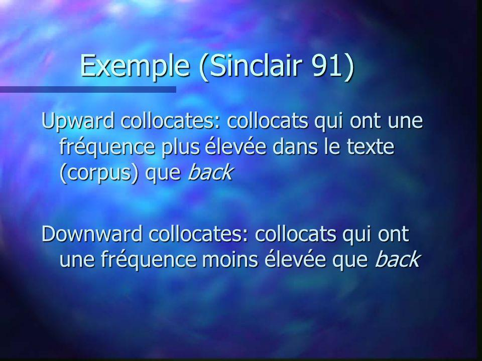 Exemple (Sinclair 91) Upward collocates: collocats qui ont une fréquence plus élevée dans le texte (corpus) que back.