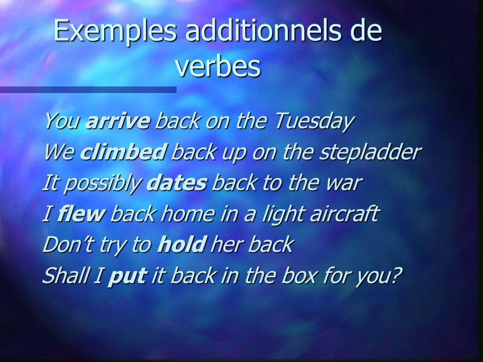 Exemples additionnels de verbes