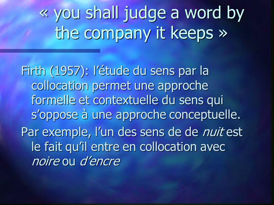 « you shall judge a word by the company it keeps »