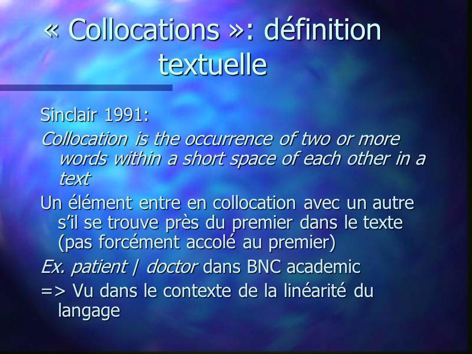 « Collocations »: définition textuelle