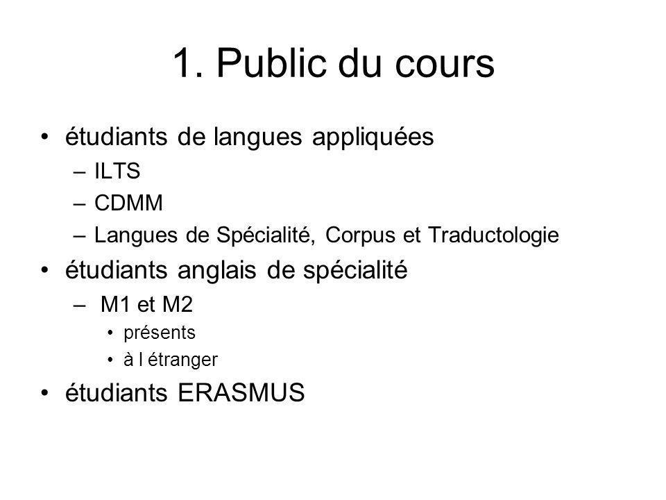 1. Public du cours étudiants de langues appliquées