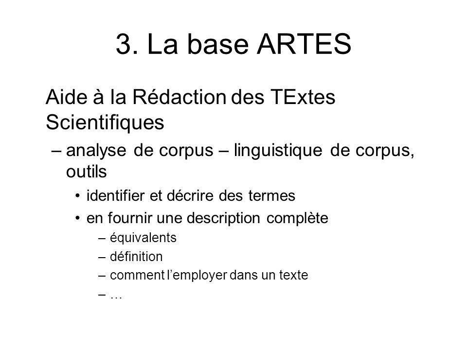 3. La base ARTES Aide à la Rédaction des TExtes Scientifiques