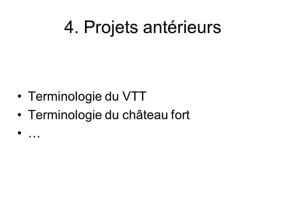 4. Projets antérieurs Terminologie du VTT Terminologie du château fort