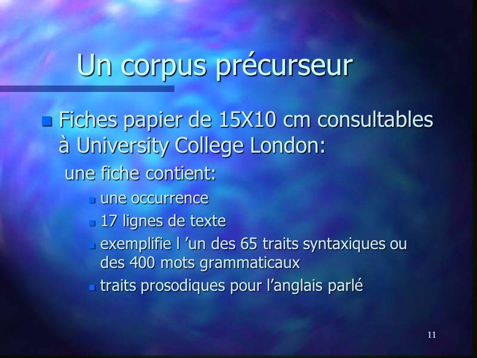 Un corpus précurseur Fiches papier de 15X10 cm consultables à University College London: une fiche contient: