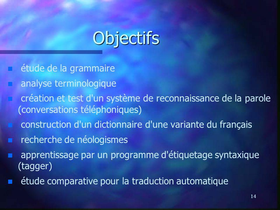 Objectifs étude de la grammaire analyse terminologique