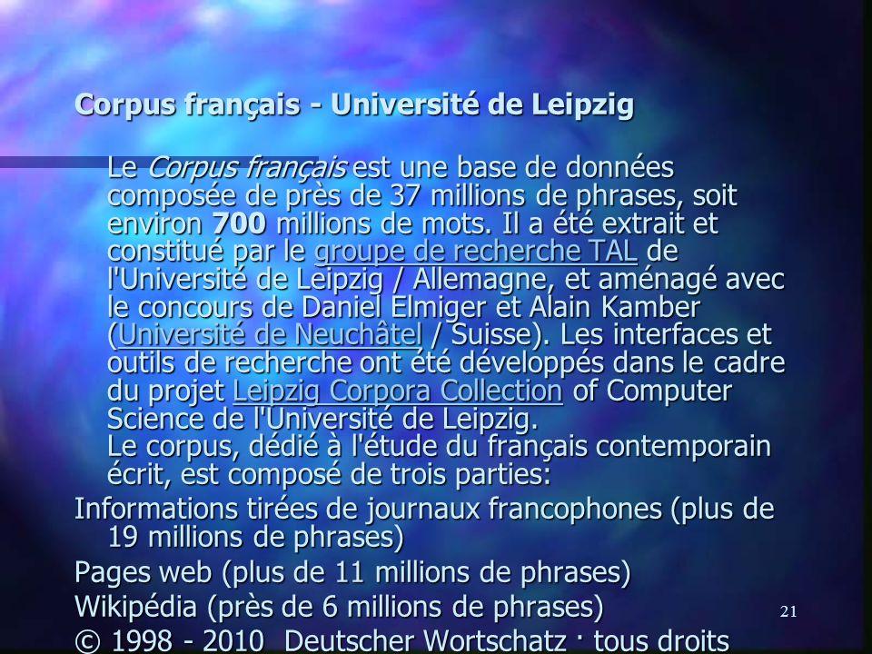 Corpus français - Université de Leipzig