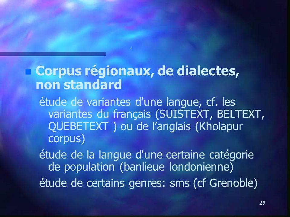 Corpus régionaux, de dialectes, non standard