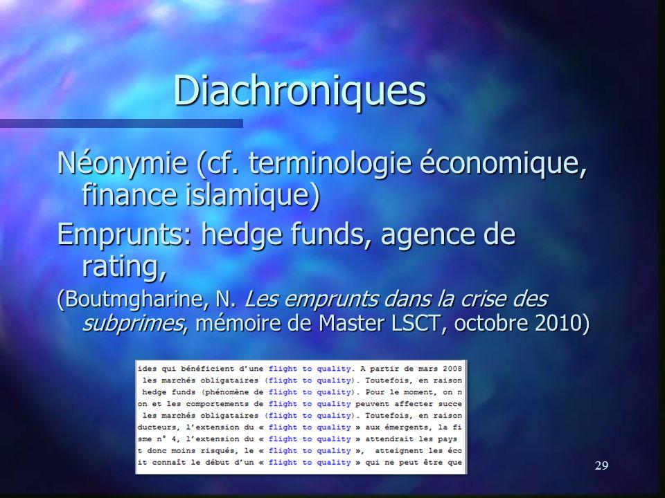 Diachroniques Néonymie (cf. terminologie économique, finance islamique) Emprunts: hedge funds, agence de rating,
