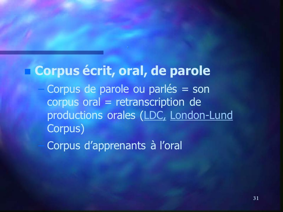 Corpus écrit, oral, de parole