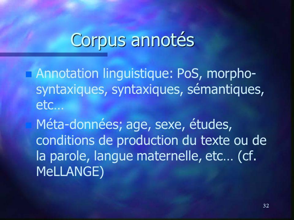 Corpus annotés Annotation linguistique: PoS, morpho- syntaxiques, syntaxiques, sémantiques, etc…