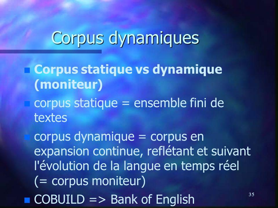 Corpus dynamiques Corpus statique vs dynamique (moniteur)