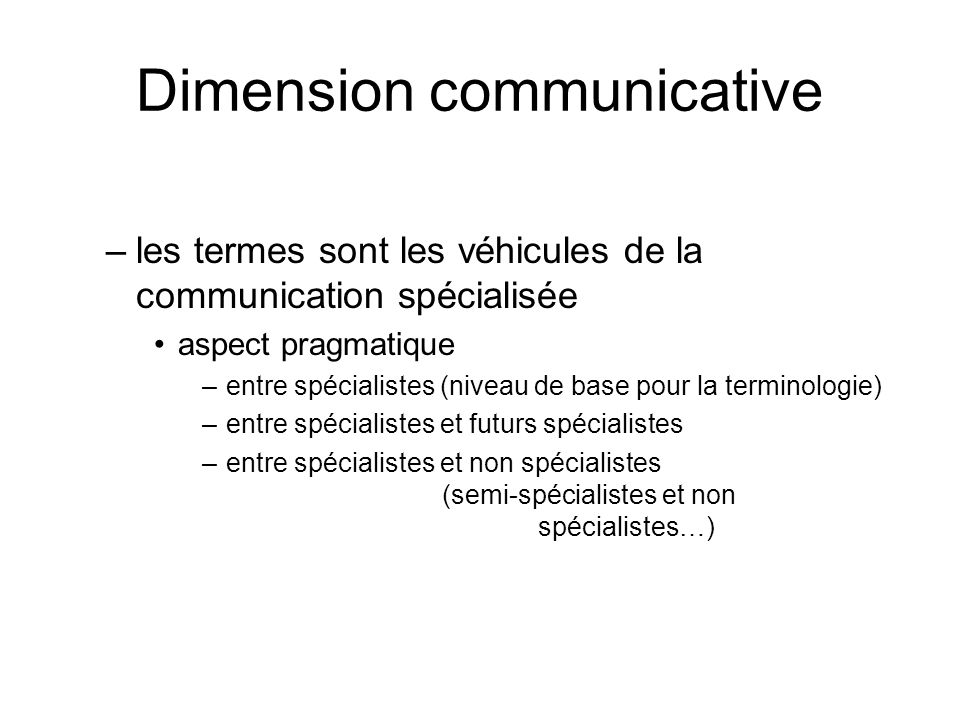 Dimension communicative