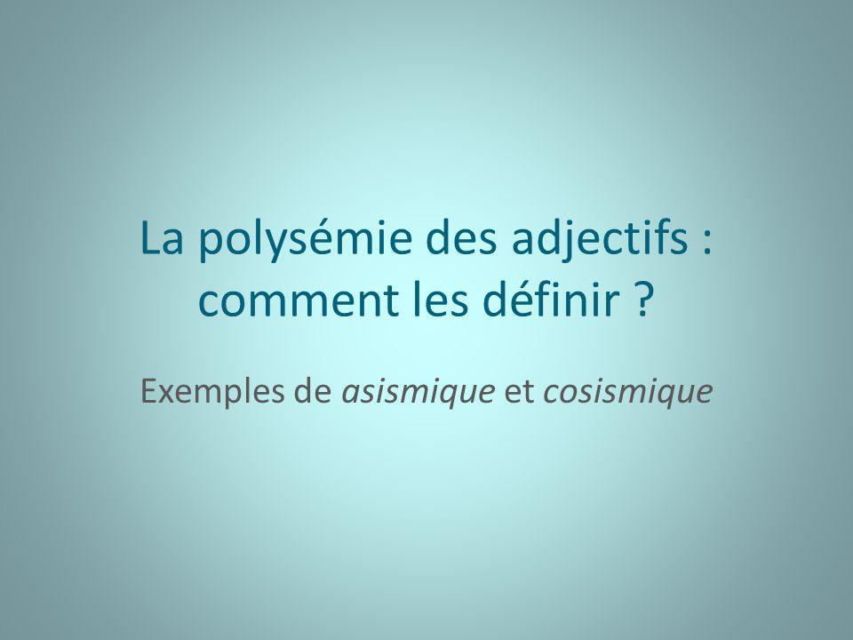 La polysémie des adjectifs : comment les définir