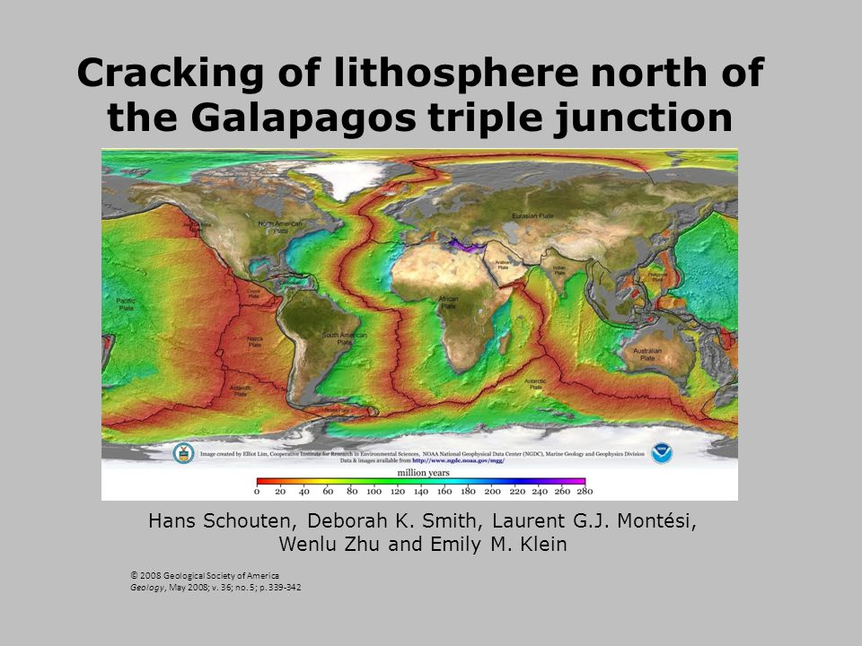 Cracking of lithosphere north of the Galapagos triple junction