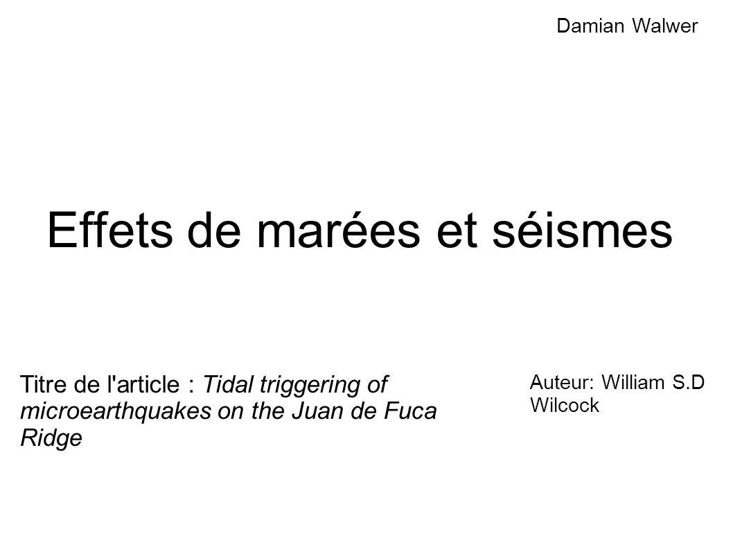 Effets de marées et séismes
