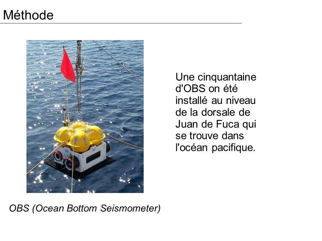 Méthode Une cinquantaine d OBS on été installé au niveau de la dorsale de Juan de Fuca qui se trouve dans l océan pacifique.