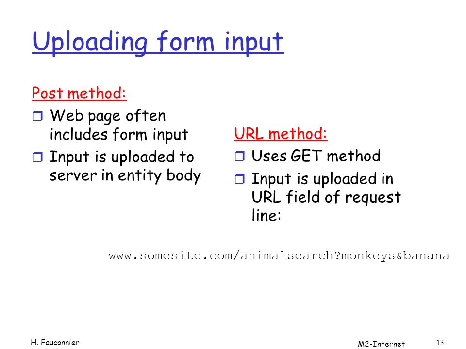 Uploading form input Post method: Web page often includes form input