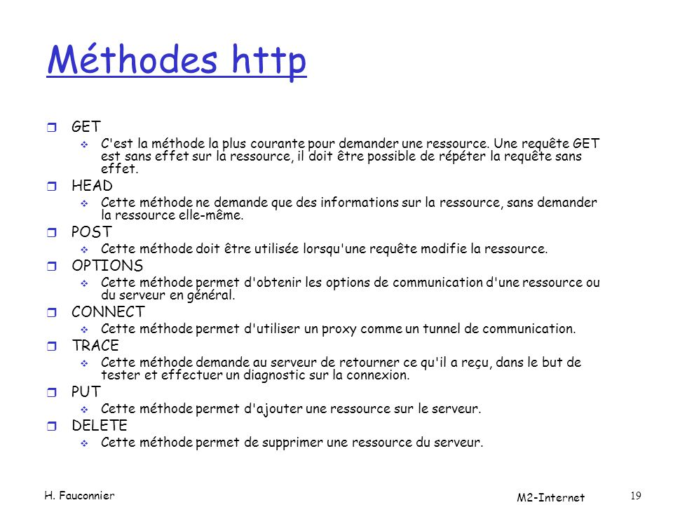 Méthodes http GET HEAD POST OPTIONS CONNECT TRACE PUT DELETE