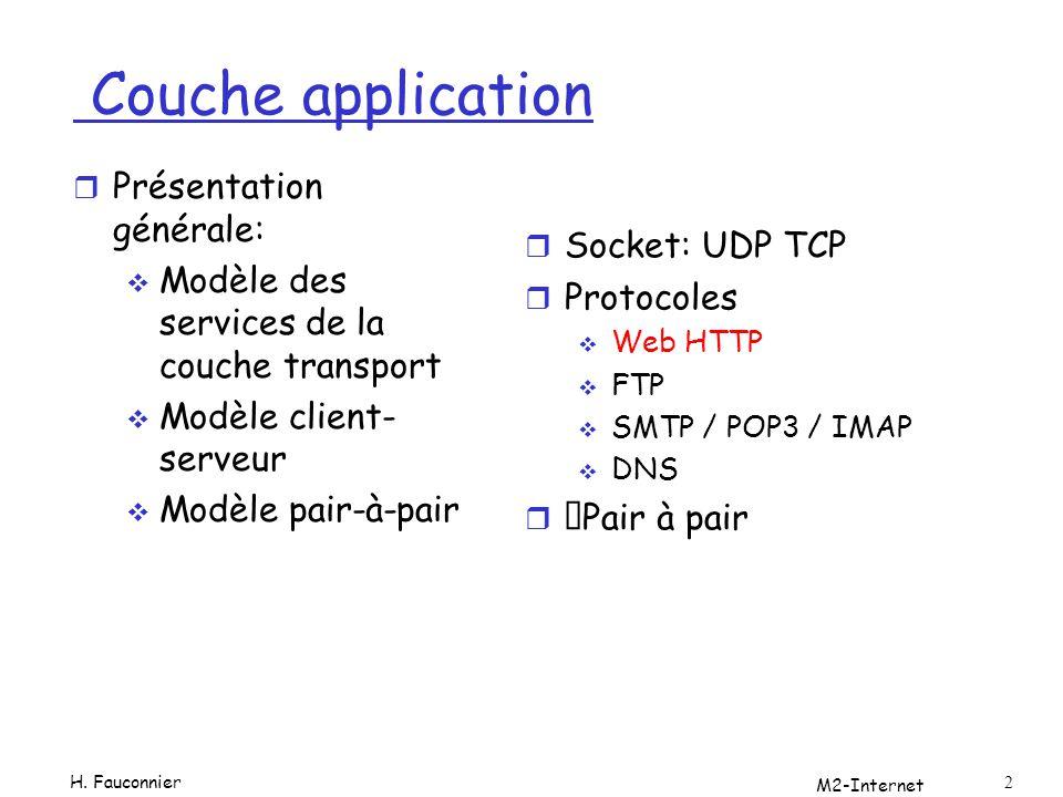 Couche application Présentation générale: Socket: UDP TCP
