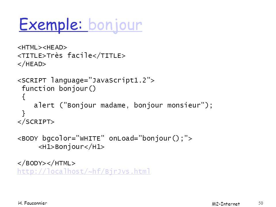 Exemple: bonjour <HTML><HEAD>