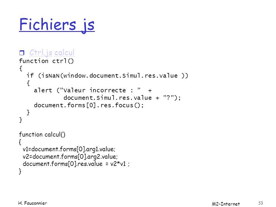 Fichiers js Ctrl.js calcul function ctrl() {