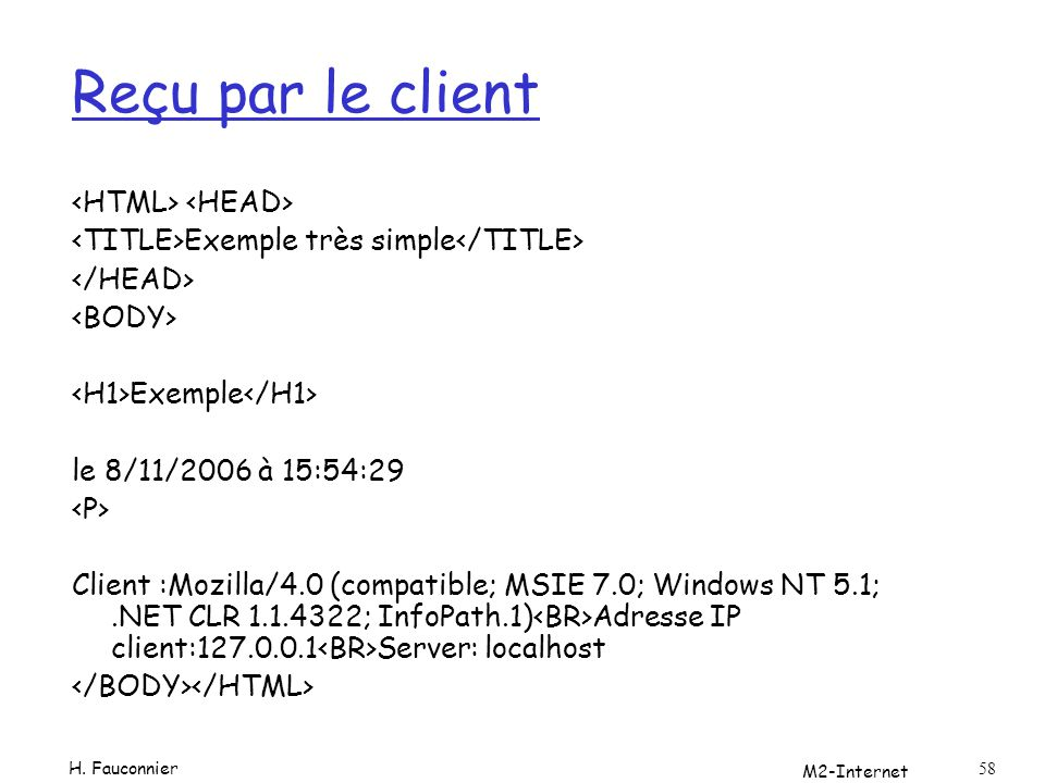 Reçu par le client <HTML> <HEAD>