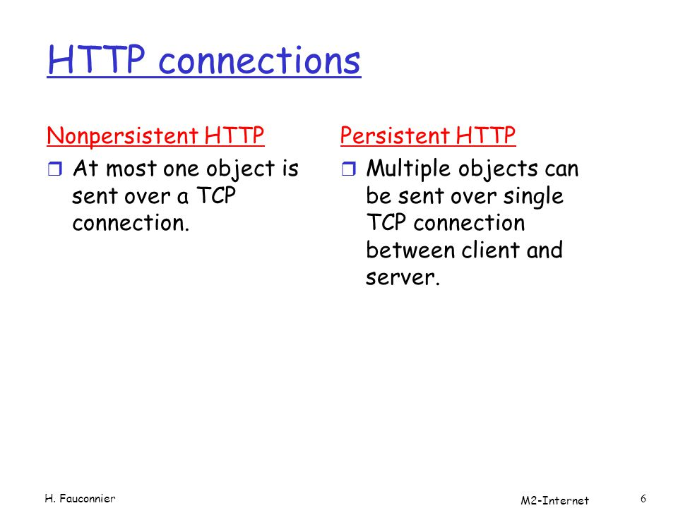 HTTP connections Nonpersistent HTTP