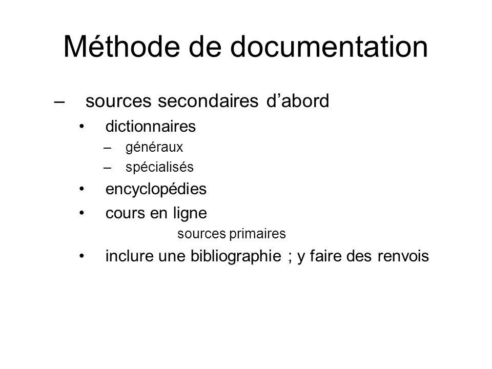 Méthode de documentation