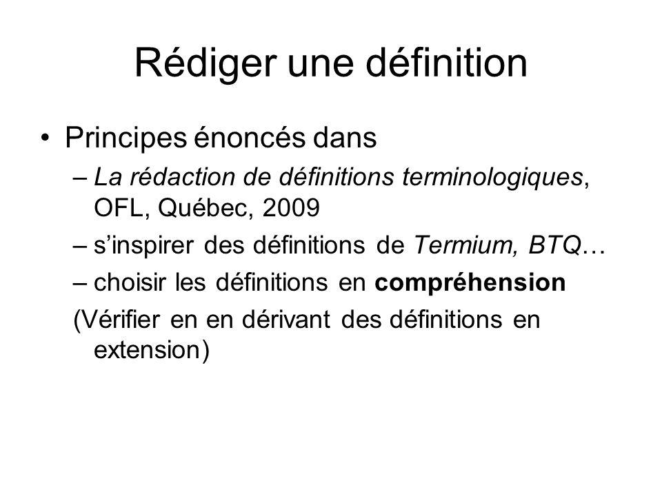 Rédiger une définition
