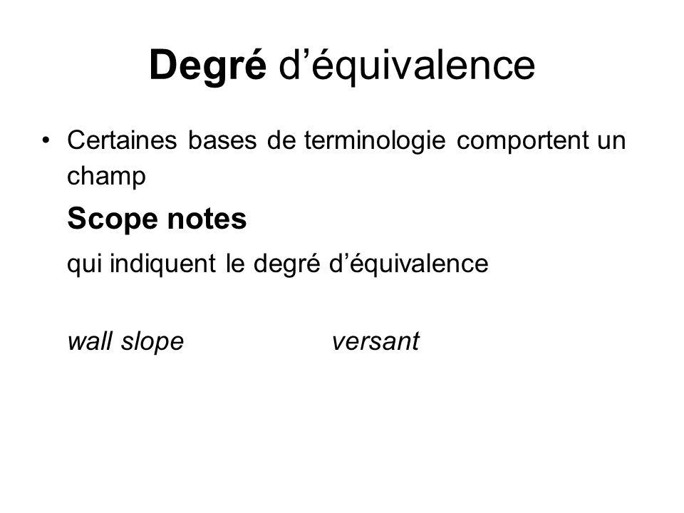 Degré d'équivalence Scope notes qui indiquent le degré d'équivalence
