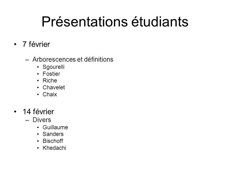 Présentations étudiants