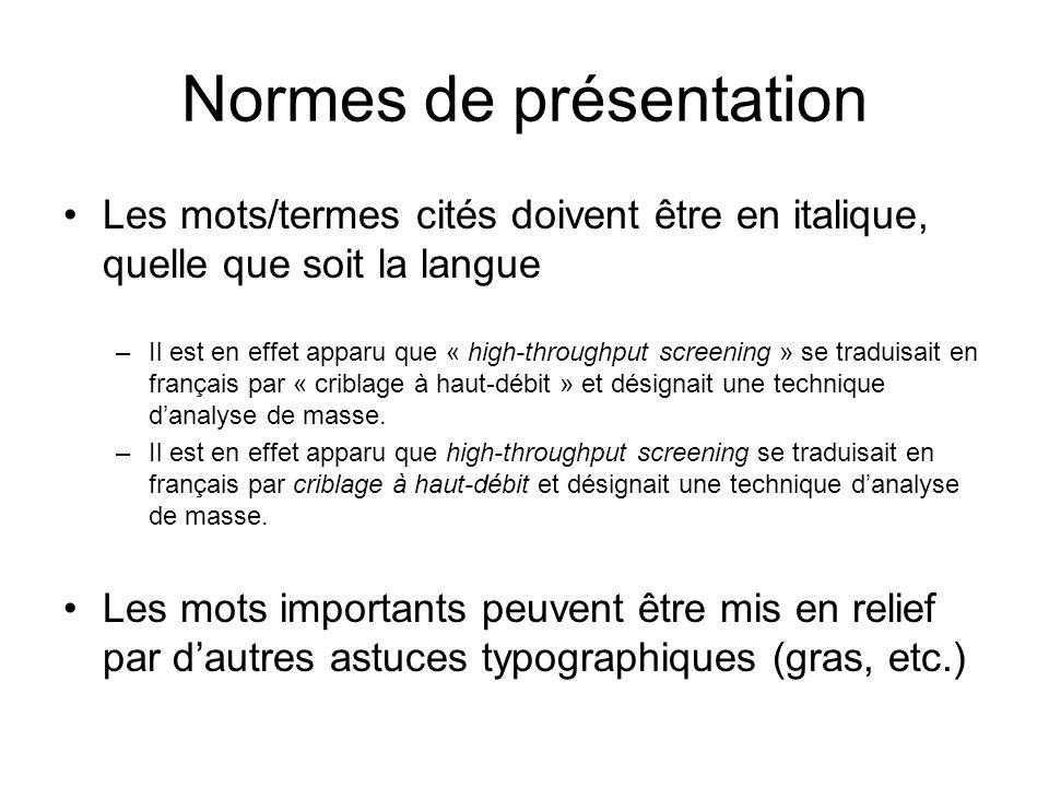 Normes de présentation