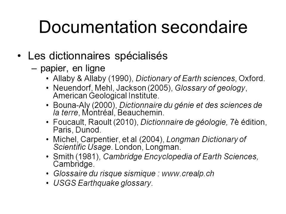 Documentation secondaire