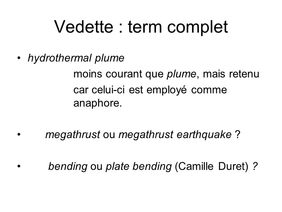 Vedette : term complet hydrothermal plume