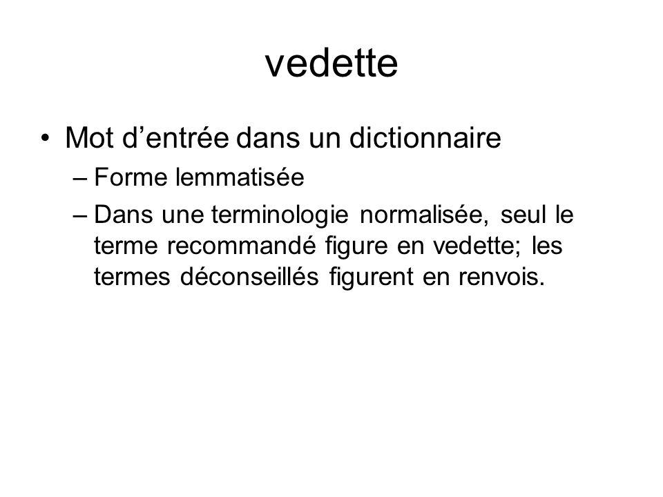 vedette Mot d'entrée dans un dictionnaire Forme lemmatisée