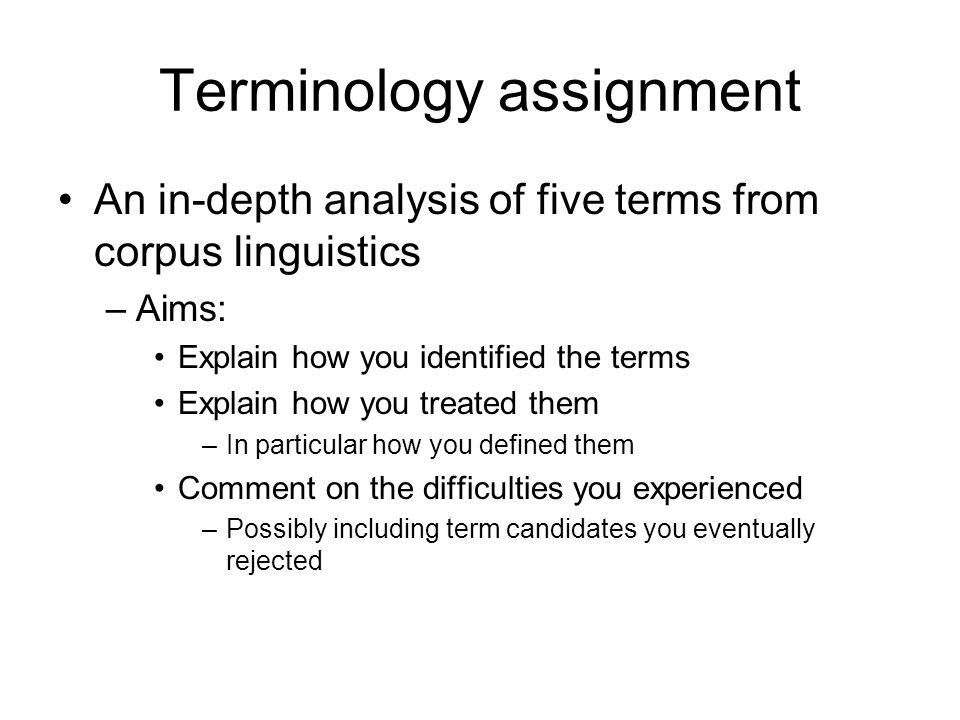 Terminology assignment