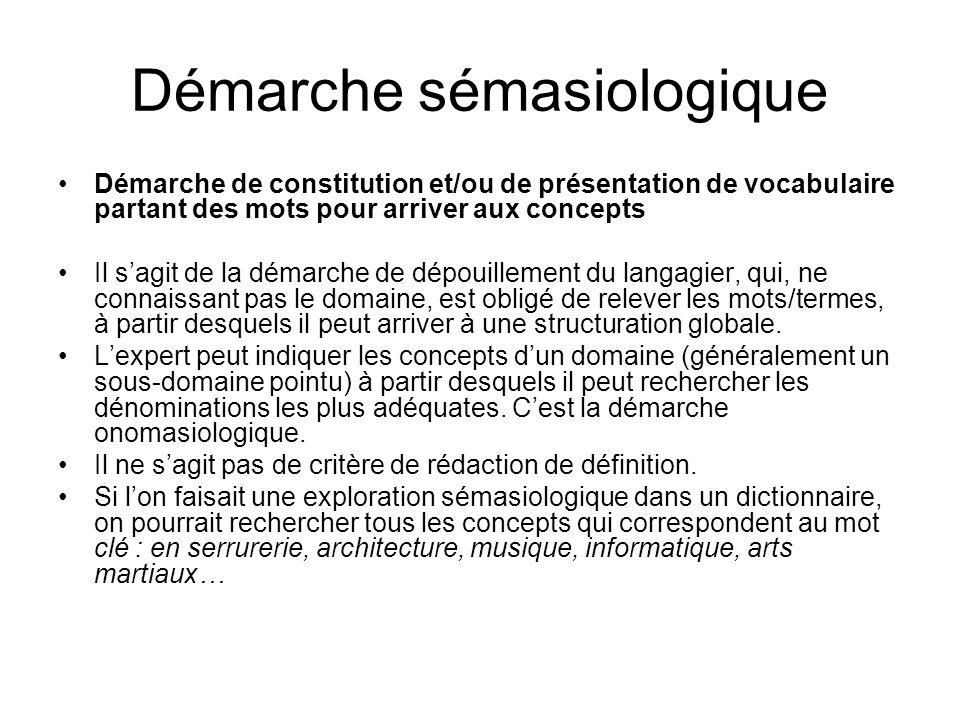 Démarche sémasiologique