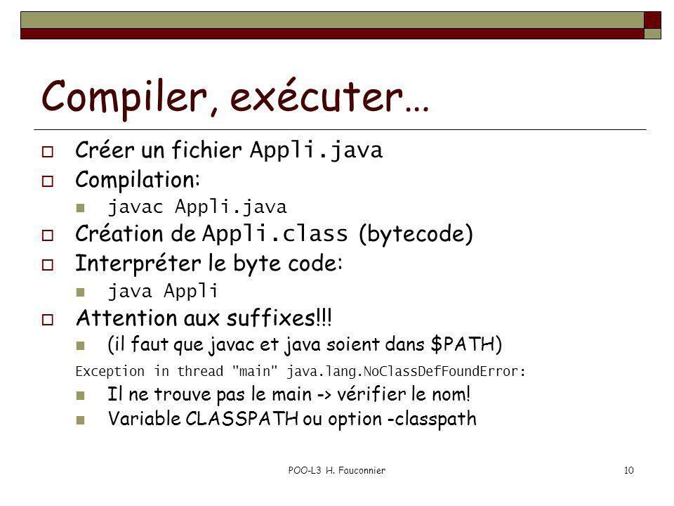 Compiler, exécuter… Créer un fichier Appli.java Compilation: