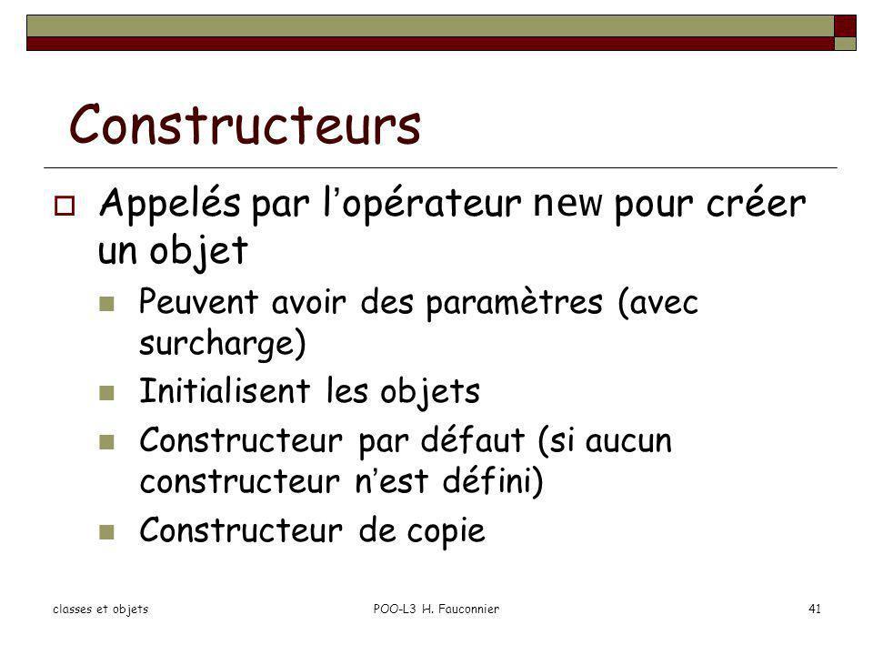 Constructeurs Appelés par l'opérateur new pour créer un objet