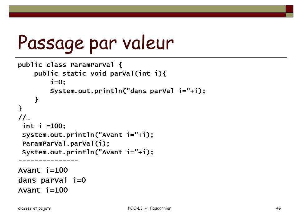 Passage par valeur Avant i=100 dans parVal i=0