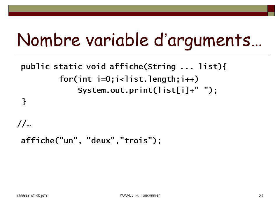 Nombre variable d'arguments…